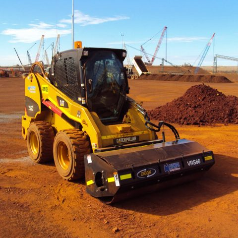 Skid steer with roller for hire in Geelong